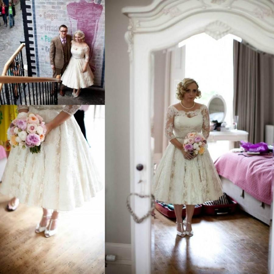 Wedding - Amzing 2016 Short Sheer Wedding Dresses Illusion Spring Scoop Half Sleeve A Line Full Applique Litter Bridal Ball Gowns Dress Wedding Style Online with $105.92/Piece on Hjklp88's Store