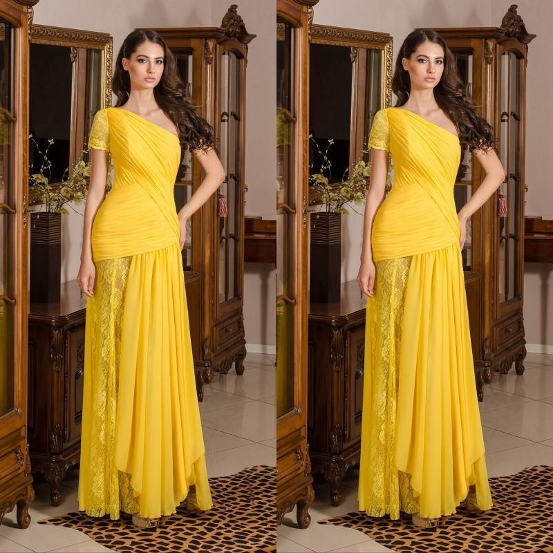 Charming 2016 Newest Evening Dresses Long Prom One Shoulder Yellow ...
