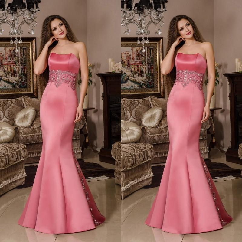 2016 New Arrival Strapless Mermaid Evening Dresses Applique Fitted