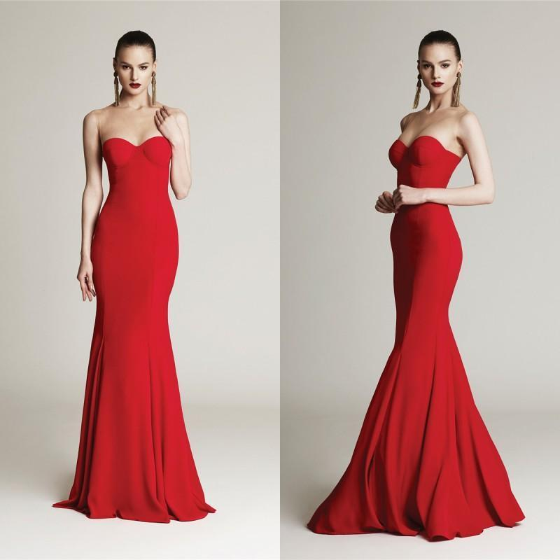 Nozze - Exquisite Mermaid Fashion Evening Dresses 2016 Red Sweetheart Sweep Bodice Fitted Sleeveless Satin Long Prom Party Celebrity Formal Gowns Online with $99.69/Piece on Hjklp88's Store