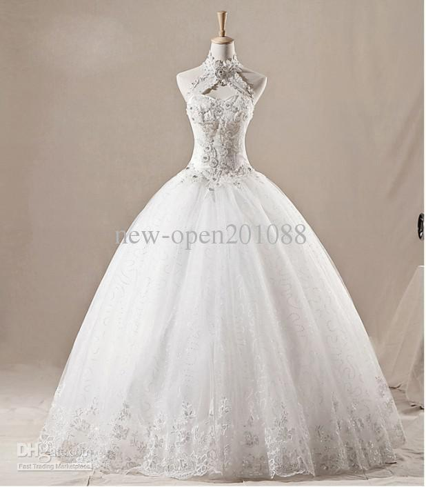 Sexy Hanging Neck Wedding Dress Luxury Diamond Decoration A Line