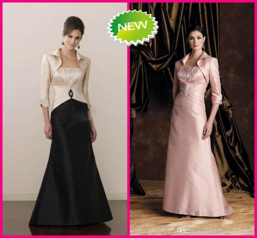 Свадьба - 2013 Taffeta Simple Mother of the Bride Dresses With Long Sleeves Jacket Beaded Bridal Party Gowns Online with $84.32/Piece on New-open201088's Store