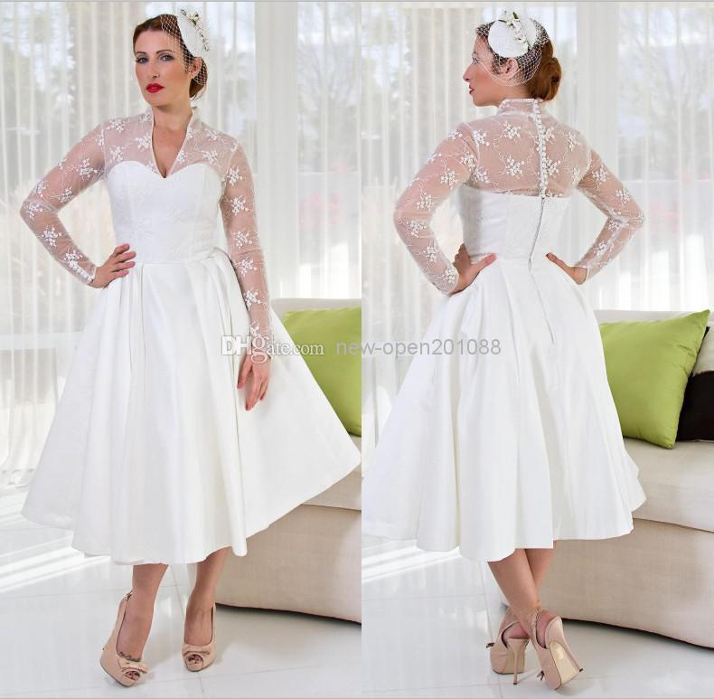 Plus Size Sheer Garden V Neck Wedding Dresses With Long Sleeves 2014