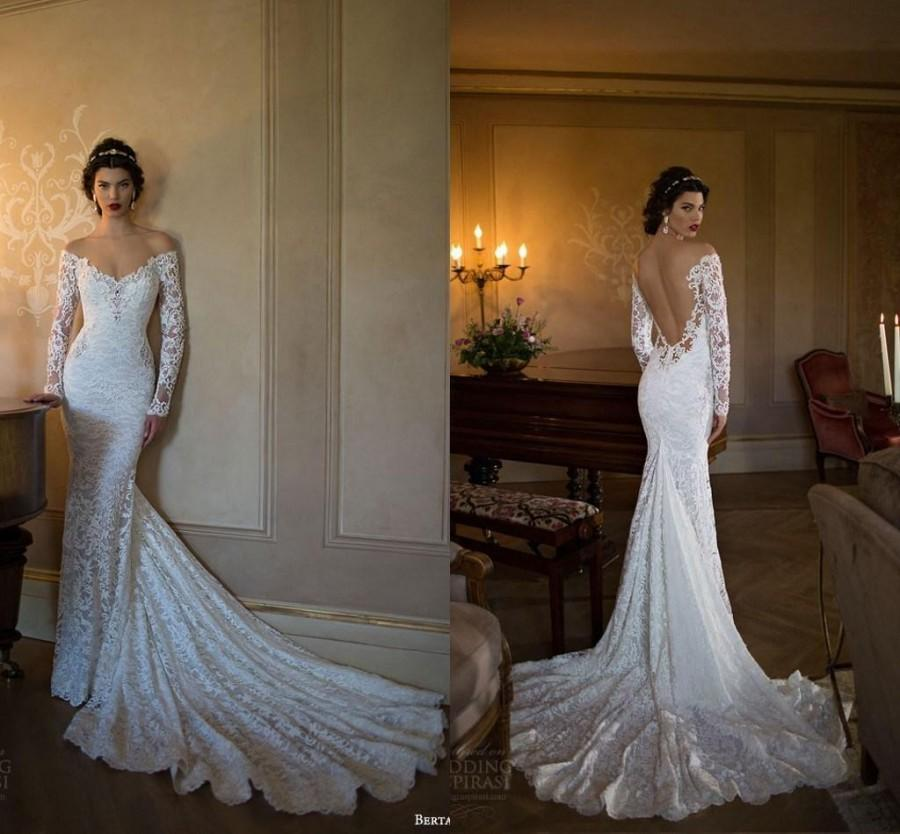 Berta bridal 2015 v neck mermaid wedding dresses beach for Lace sleeve backless wedding dress