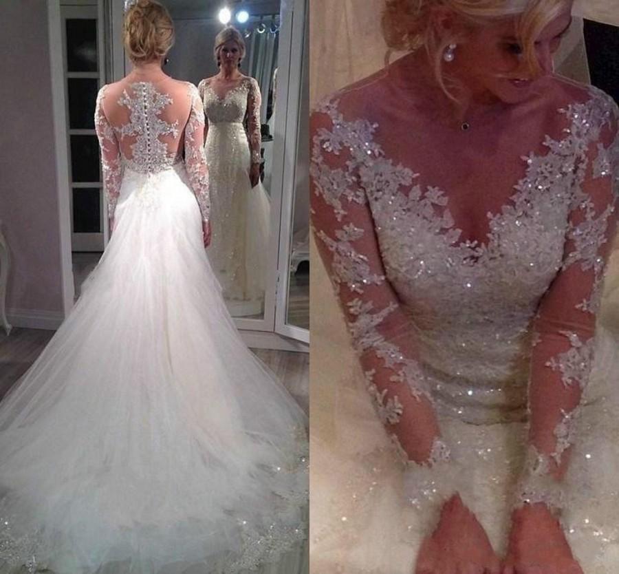 Elegant Illusion Fall Wedding Dresses Sheer Long Sleeve Shining ...
