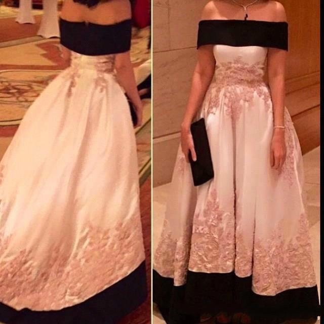 Wedding - 2016 New Arrival Off The Shoulder Myriam Fares Evening Dresses Satin Lace Applique Sweep Length Prom Dress Party Evening Ball Gowns Online with $121.94/Piece on Hjklp88's Store