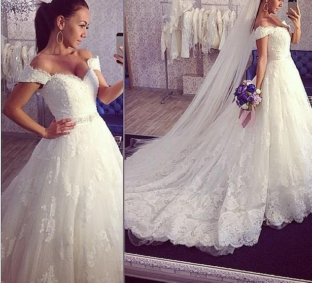 2016 A Line Lace Wedding Dresses Off Shoulder Cap Sleeves Up Back Lique Chapel Train Bridal Ball Gowns Custom With Sequined Sash Online