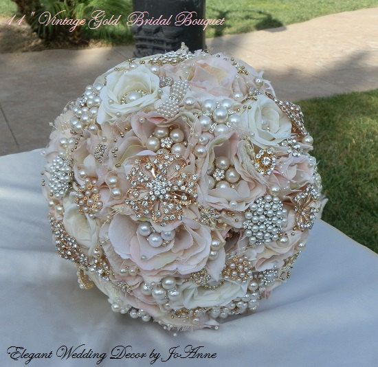 Vintage Gold Bridal Bouquet Beautiful Blush Pink And Brooch Wedding
