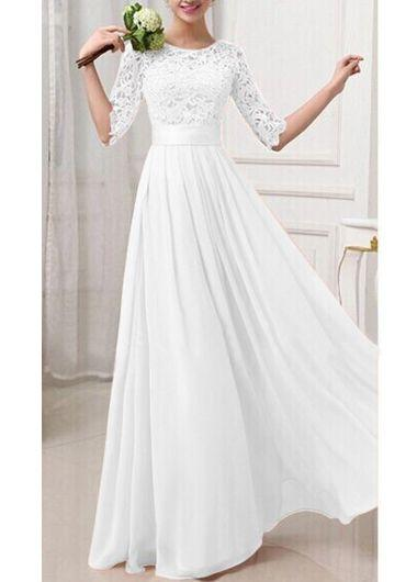 Half sleeve zipper fly ankle length dress usd for Ankle length wedding dress with sleeves