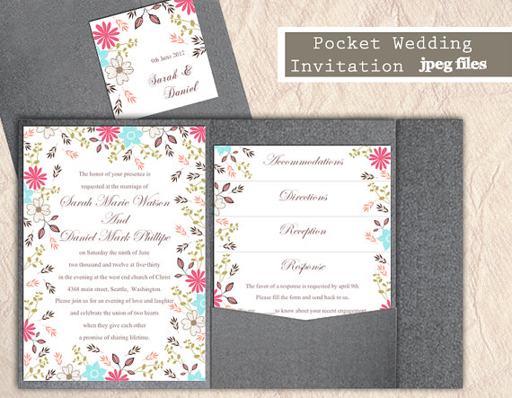 Printable pocket wedding invitation suite printable invitation printable pocket wedding invitation suite printable invitation colorful invitation floral invitation download invitation edited jpeg file stopboris Image collections