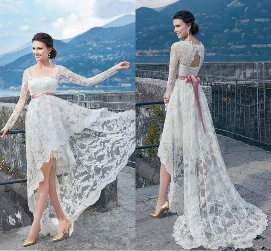 High Low Bohemian Wedding Dresses Long Sleeve Garden Sheer Illusion ...