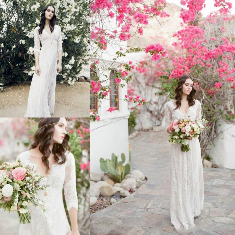 Charming bohemian wedding dresses 2016 a line v neck sheer for Boho country wedding dress