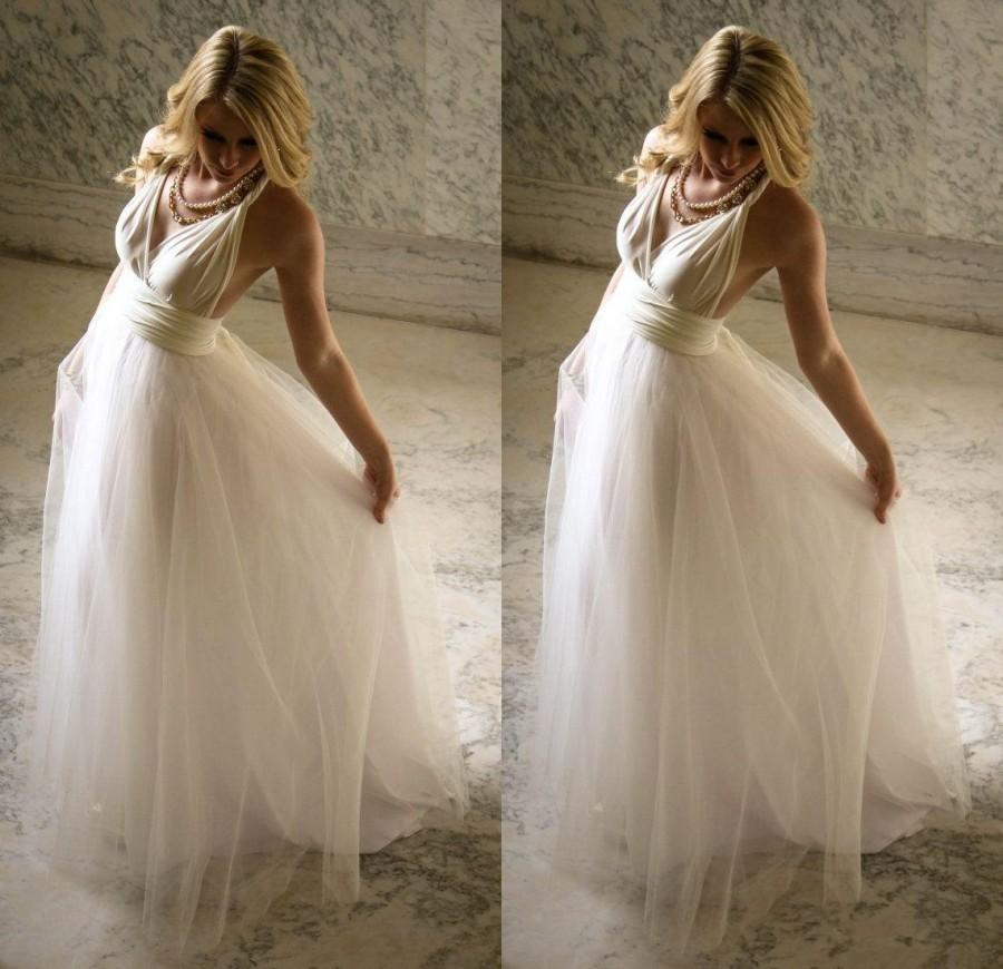 2016 Spring Summer Bohemian A-line Ivory Tulle Beach Wedding Dresses ...