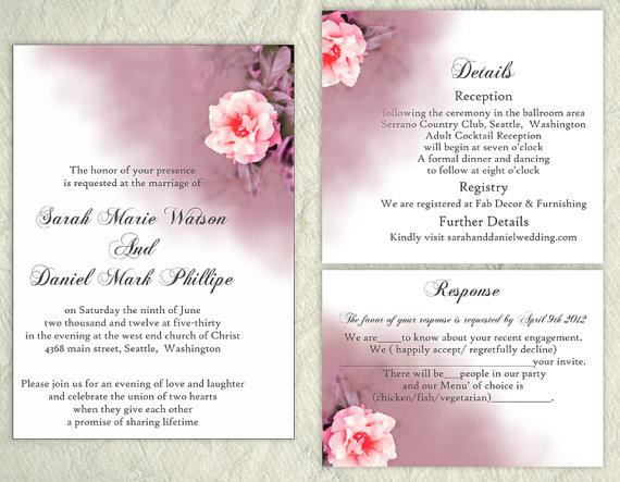 Свадьба - DIY Wedding Invitation Template Editable Text Word File Download Printable Coral Invitation Floral Rose Wedding Invitation Purple Invitation
