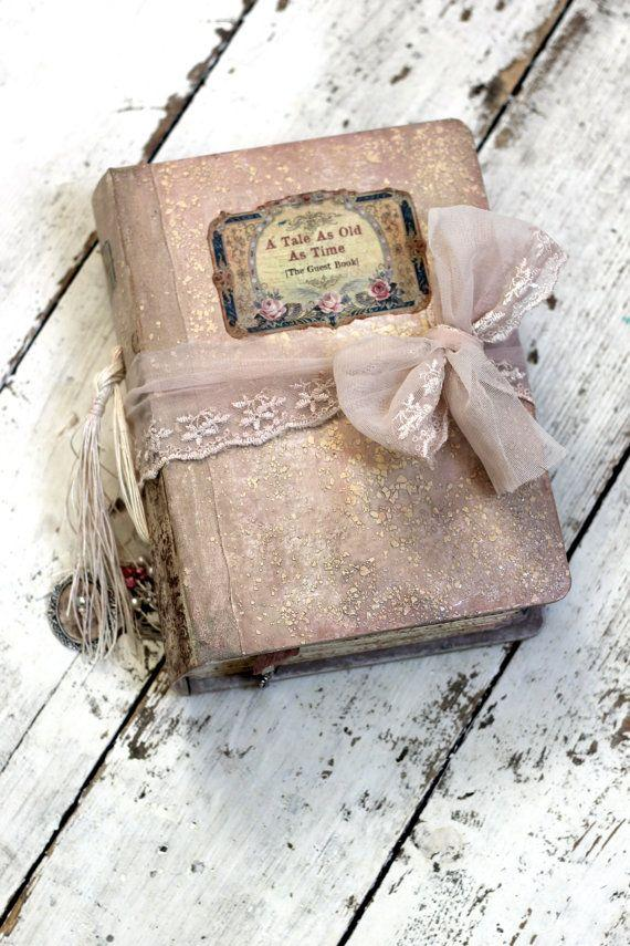fairytale wedding guest book blush pink photo album shabby chic