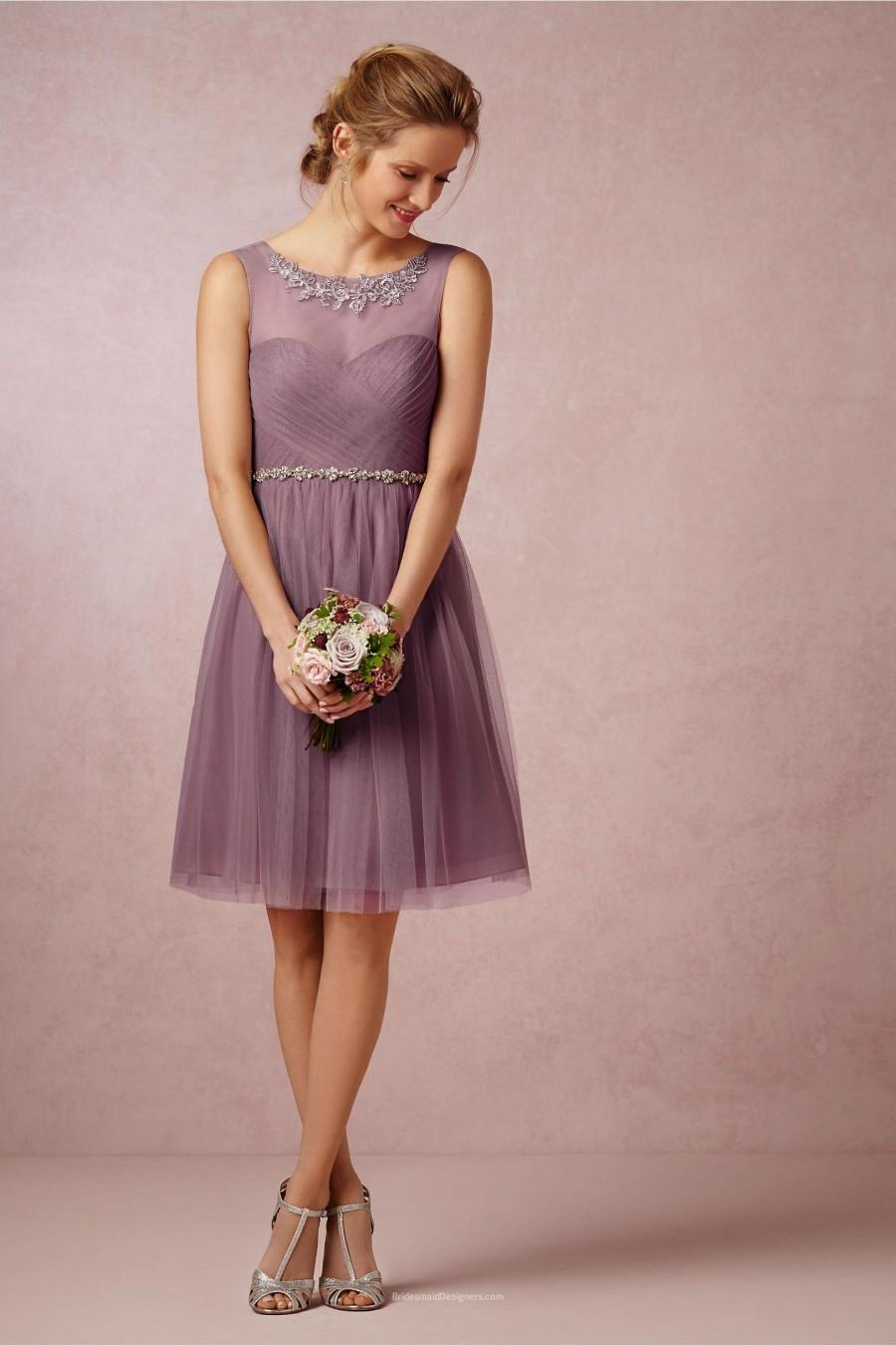 Mariage - Embroidered Pleated Short Knee Length Mauve Tulle Bridesmaid Dress