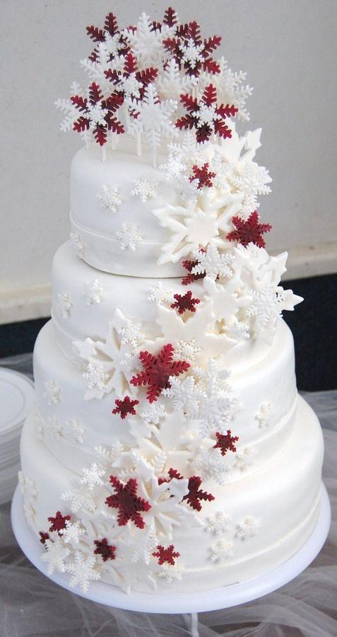 Snowflake Cascade Wedding Cake Round Cakes