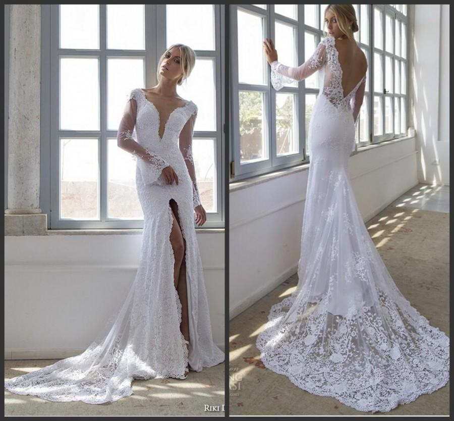 Sexy backless mermaid lace sheer riki dalal wedding for Lace sleeve backless wedding dress