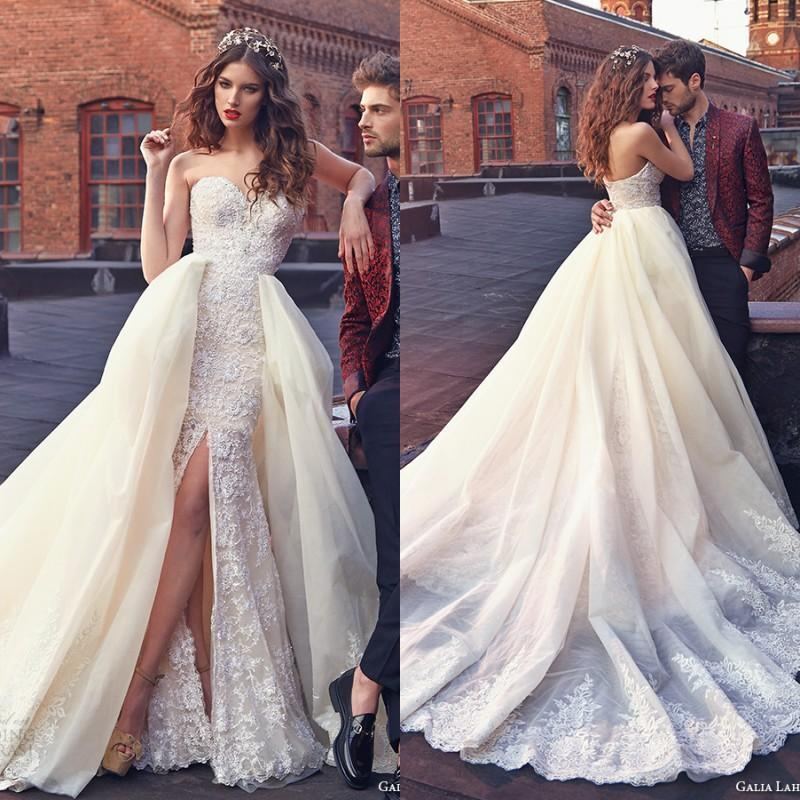 Elegant galia lahav wedding dresses with lace applique for Detachable train wedding dress