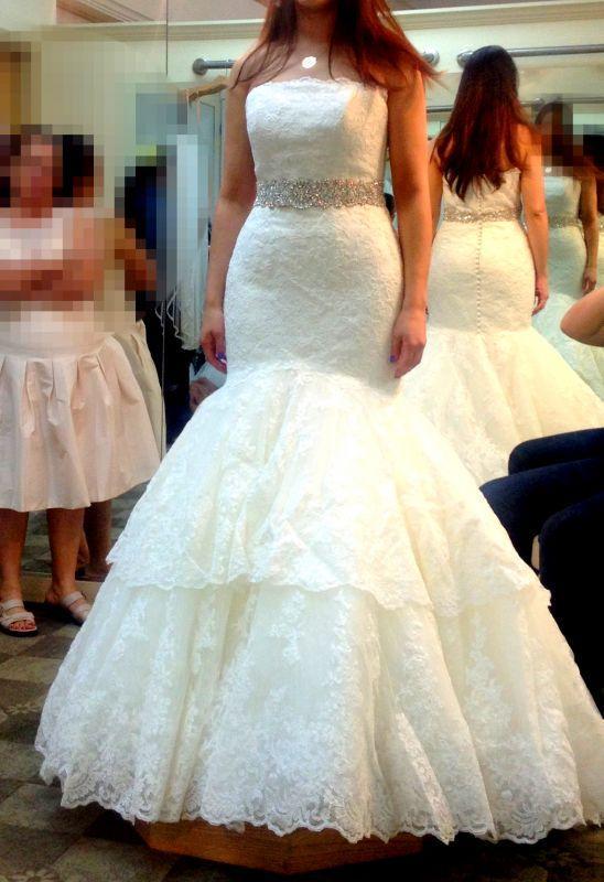 Wedding Dress Train Ideas : Exquisite lace mermaid wedding dress with crystal sash