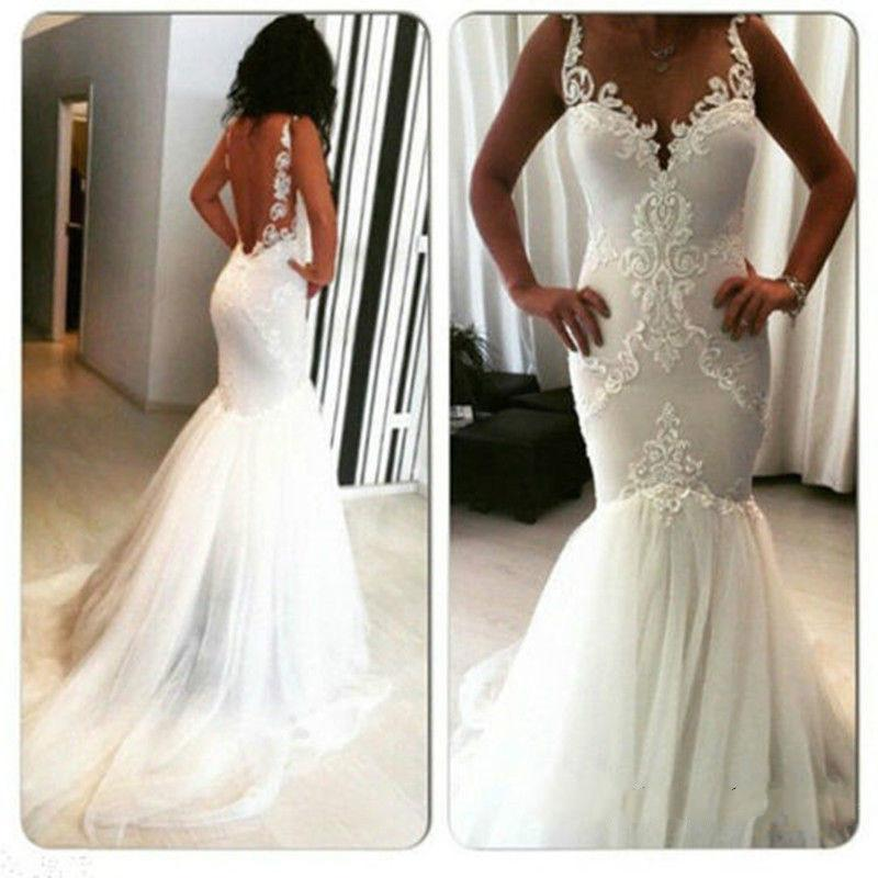 Sexy Mermaid Wedding Dresses 2016 White Real Image Garden Trumpet ...