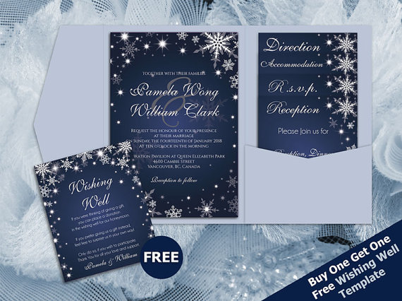 Wedding - DIY Printable Wedding Pocket Fold Invitation Set A7 5 x 7