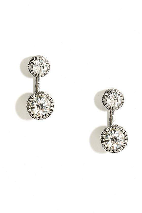 Wedding - Let's Get Fancy Silver Rhinestone Ear Jackets