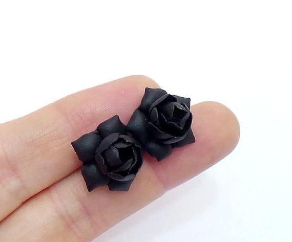 Hochzeit - Black Gardenia Earrings Stud - Black Gardenia , Black Flower Earrings Womens Fashion Accessories,Wedding,Bridesmaids