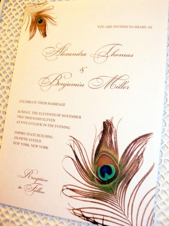 Custom Listing Peacock Feather Wedding Invitations Deposit
