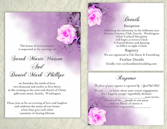 DIY Wedding Invitation Template Set Editable Word File Download ...