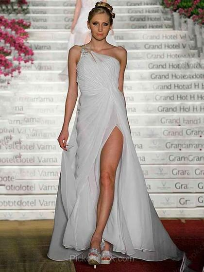 Свадьба - Princesa Un sólo hombro Hasta el suelo Chifón Vestido de Fiesta con Volantes Apertura frontal Cristal Plisado