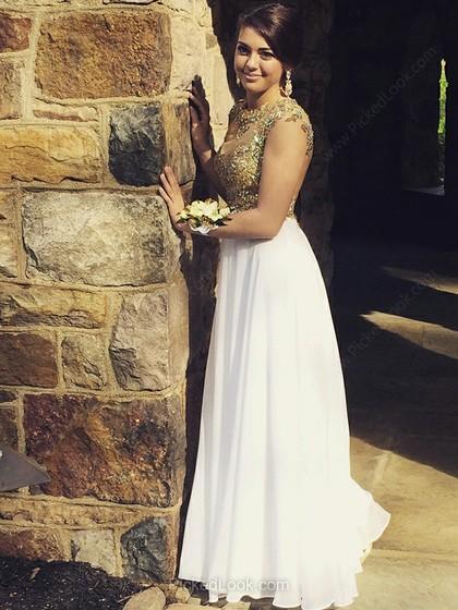 Wedding - Corte A Escote redondo Hasta el suelo Chifón Tul Vestido de Fiesta con Bordado Cristal