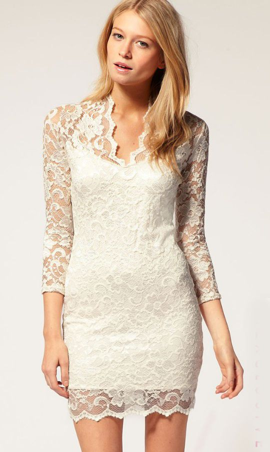 Mariage - White Vintage Lace Fitted Dress - Sheinside.com