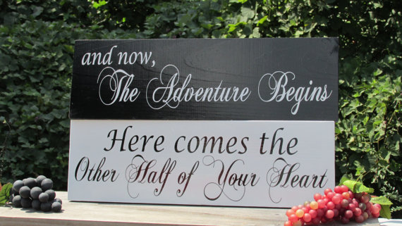 "Свадьба - Double Sided ""Here comes . . . your heart""""and now, The Adventure Begins"" © / Painted Solid Wood / Wedding Sign / Ring Bearer / Flower Girl"