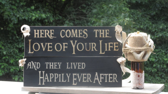 """Свадьба - Rustic Distressed / """"Here comes the Love of your life"""" """"and they lived Happily Ever After"""" Double Sided Ring Bearer Sign / Painted Wood"""