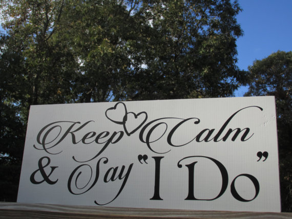 Boda - Keep Calm and Say I Do / Ring Bearer, Flower Girl Wedding Sign / Hung by Ribbon / Painted Solid Wood / Linked Hearts or Horseshoes / Funny