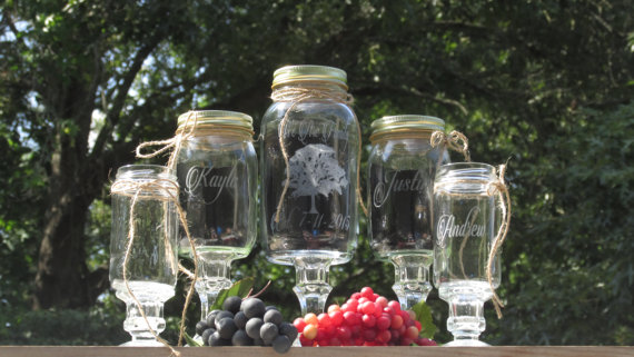 زفاف - 5 Piece Blended Family Tree / Mason Jar / Unity Sand Set / Personalized / Etched Toasting Glasses / Children's / Choice of Fonts and Lids