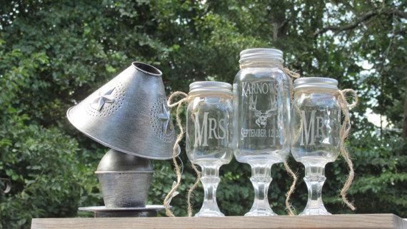 Wedding - Personalized / Rustic Deer Unity Sand Set / Redneck Wine Toasting Glasses / Mason Jars / Mr. Mrs. Buck Sand Ceremony / Choice of Lids