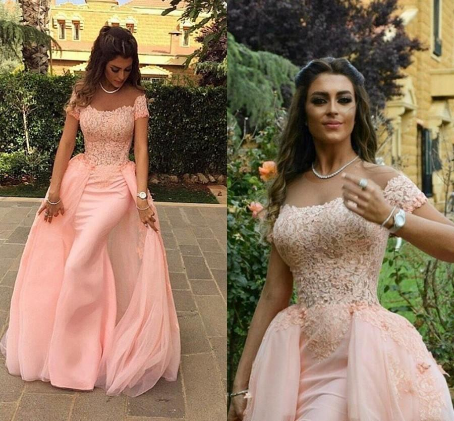 45e447fbd816 Exquisite Myriam Fares Pink Evening Dresses Sheath Cheap Scoop Short Sleeve  Lace Applique Floor Length Formal Prom Party Gowns Dresses Online with ...
