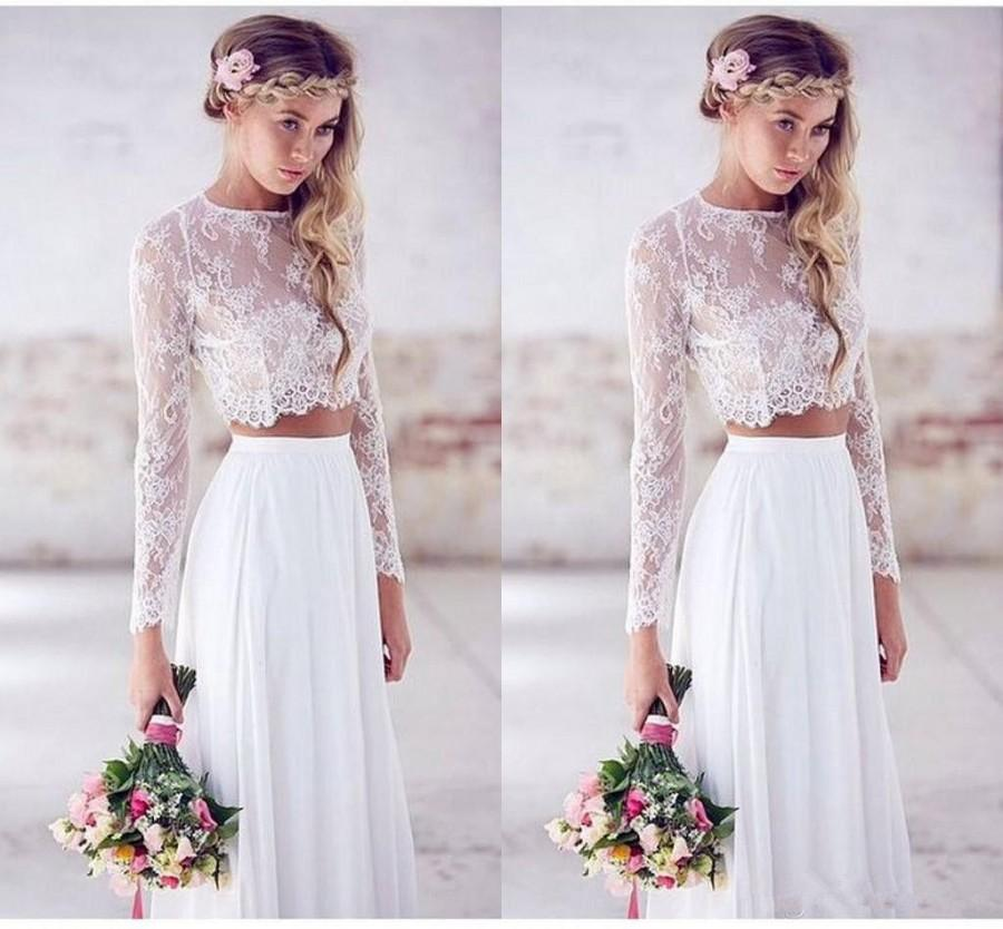 Elegant two pieces 2016 wedding dresses long sleeve lace for Best boho wedding dresses