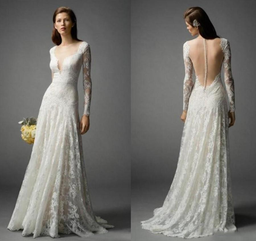 Wedding - Long Sleeve 2016 Bohemian Wedding Dresses Lace Floor Length Boho Summer V-Neck Sheer Bridal Dresses Ball Gowns Custom Illusion Back Online with $123.28/Piece on Hjklp88's Store