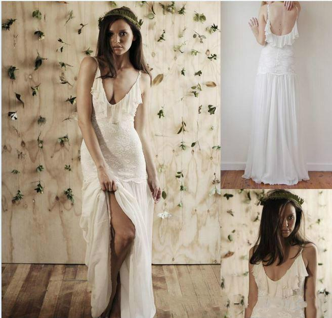 Wedding - Sexy 2016 Spaghetti Straps Backless Bohemian Beach Wedding Dresses Lace Floor Length A-line Boho Chiffon Summer Bridal Dresses Ball Gowns Online with $121.5/Piece on Hjklp88's Store