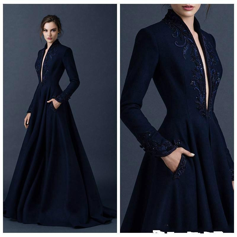 Navy Blue Satin Evening Dresses 2016 Paolo Sebastian Custom Made Beaded Ball Gown Plunging V Neck Gowns Formal Run Fashion Train Online With