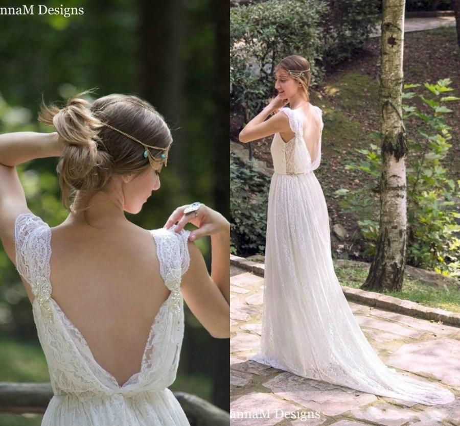 White boho wedding dress the image kid for Bohemian white wedding dress