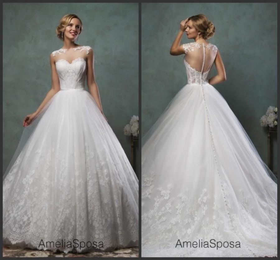 Exquisite sheer lace amelia sposa wedding dresses 2016 for Crew neck wedding dress