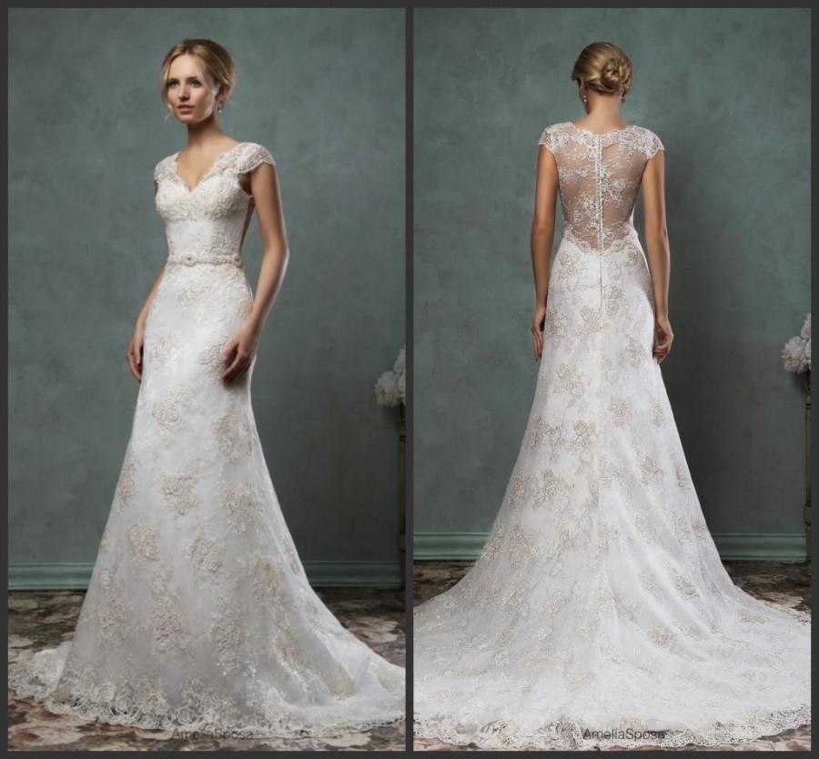 Charming Lace Amelia Sposa Wedding Dresses 2016 Sheer V-Neck Cap ...