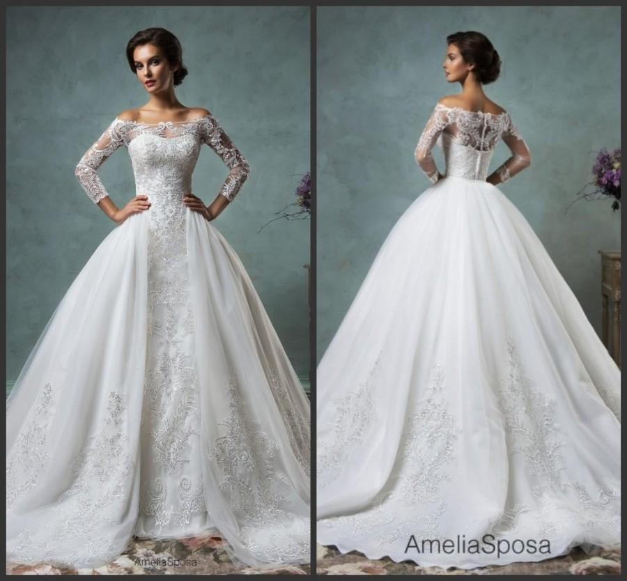 Gorgeous 2016 Sheer Amelia Sposa Wedding Dresses Detachable Remove ...