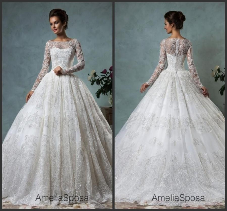 Vintage Long Sleeve Winter Amelia Sposa Wedding Dresses 2016 Lace ...