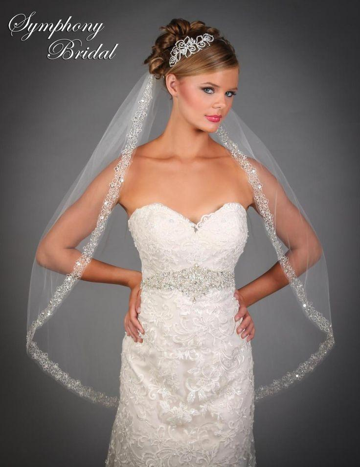 Mariage - Beaded Embroidery Fingertip Wedding Veil 6535VL By Symphony Bridal