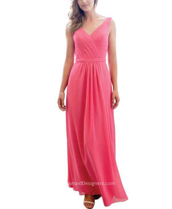 Mariage - Beautiful Pink Slim Fitted Long Chiffon V Neck Bridesmaid Dress